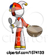 White Jester Joker Man With Empty Bowl And Spoon Ready To Make Something