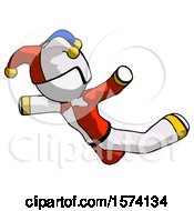 White Jester Joker Man Skydiving Or Falling To Death