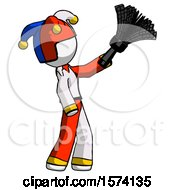 White Jester Joker Man Dusting With Feather Duster Upwards