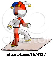 White Jester Joker Man On Postage Envelope Surfing