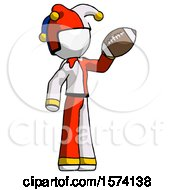 White Jester Joker Man Holding Football Up