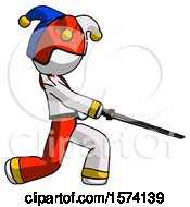White Jester Joker Man With Ninja Sword Katana Slicing Or Striking Something