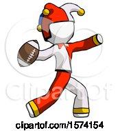 White Jester Joker Man Throwing Football