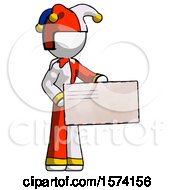 White Jester Joker Man Presenting Large Envelope