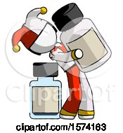 White Jester Joker Man Holding Large White Medicine Bottle With Bottle In Background