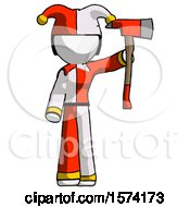 White Jester Joker Man Holding Up Red Firefighters Ax