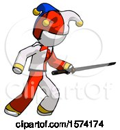 White Jester Joker Man Stabbing With Ninja Sword Katana