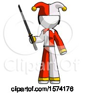 White Jester Joker Man Standing Up With Ninja Sword Katana
