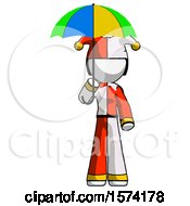 White Jester Joker Man Holding Umbrella Rainbow Colored