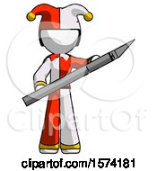 White Jester Joker Man Holding Large Scalpel