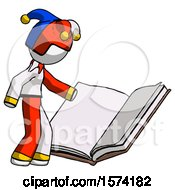 White Jester Joker Man Reading Big Book While Standing Beside It