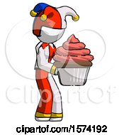 White Jester Joker Man Holding Large Cupcake Ready To Eat Or Serve