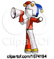 White Jester Joker Man Shouting Into Megaphone Bullhorn Facing Left