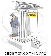 Sad Man Standing Outside A Building After Being Denied A Loan Clipart Illustration