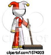 White Jester Joker Man Standing With Industrial Broom
