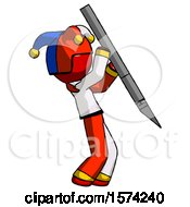 Red Jester Joker Man Stabbing Or Cutting With Scalpel