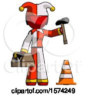 Red Jester Joker Man Under Construction Concept Traffic Cone And Tools