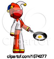 Poster, Art Print Of Red Jester Joker Man Frying Egg In Pan Or Wok Facing Right