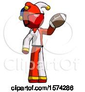 Red Jester Joker Man Holding Football Up