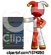 Red Jester Joker Man With Server Rack Leaning Confidently Against It