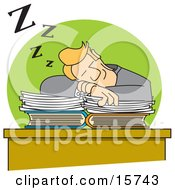 Slacking Businessman Sleeping On Top Of His Paperwork On His Office Desk Clipart Illustration by Andy Nortnik