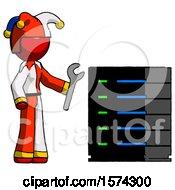 Red Jester Joker Man Server Administrator Doing Repairs
