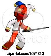 Red Jester Joker Man Stabbing With Ninja Sword Katana