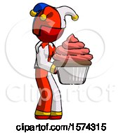 Red Jester Joker Man Holding Large Cupcake Ready To Eat Or Serve