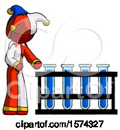 Red Jester Joker Man Using Test Tubes Or Vials On Rack