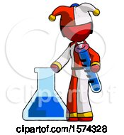 Red Jester Joker Man Holding Test Tube Beside Beaker Or Flask