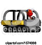 Red Jester Joker Man Driving Amphibious Tracked Vehicle Side Angle View