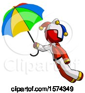 Red Jester Joker Man Flying With Rainbow Colored Umbrella