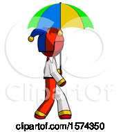 Red Jester Joker Man Walking With Colored Umbrella