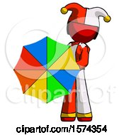 Red Jester Joker Man Holding Rainbow Umbrella Out To Viewer