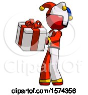 Red Jester Joker Man Presenting A Present With Large Red Bow On It