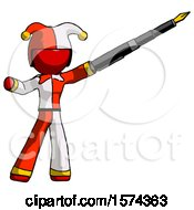 Red Jester Joker Man Pen Is Mightier Than The Sword Calligraphy Pose
