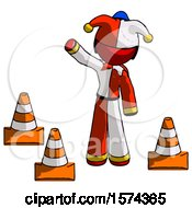 Red Jester Joker Man Standing By Traffic Cones Waving