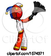 Red Jester Joker Man Dusting With Feather Duster Upwards