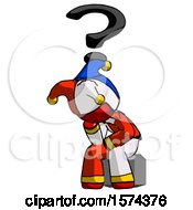 Red Jester Joker Man Thinker Question Mark Concept