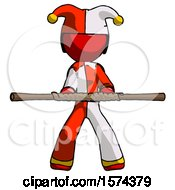 Red Jester Joker Man Bo Staff Kung Fu Defense Pose