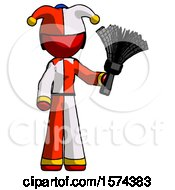 Red Jester Joker Man Holding Feather Duster Facing Forward