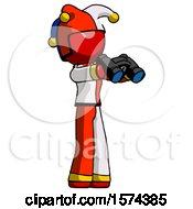 Red Jester Joker Man Holding Binoculars Ready To Look Right