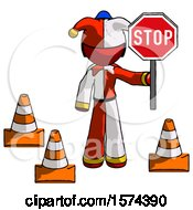 Red Jester Joker Man Holding Stop Sign By Traffic Cones Under Construction Concept