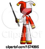 Red Jester Joker Man Standing Up With Ninja Sword Katana