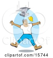 Construction Worker Jumping Back To Avoid Being Hit By A Falling Anvil Clipart Illustration