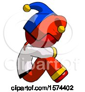 Red Jester Joker Man Sitting With Head Down Facing Sideways Right