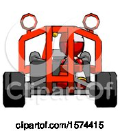 Red Jester Joker Man Riding Sports Buggy Front View