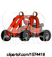 Red Jester Joker Man Riding Sports Buggy Side Angle View