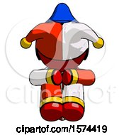 Red Jester Joker Man Sitting With Head Down Facing Forward