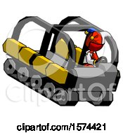 Red Jester Joker Man Driving Amphibious Tracked Vehicle Top Angle View